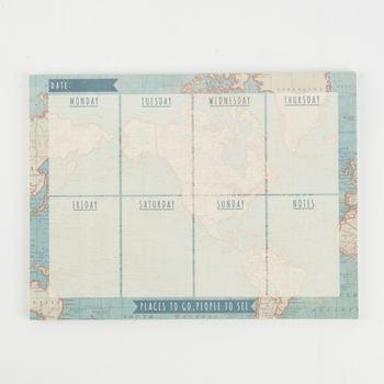 Wochenplaner Weltkarte Vintage blau beige 19x25,5x0,8cm – Bild 1