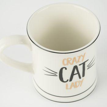 Tasse Kaffeebecher Porzellan CRAZY CAT LADY 12x9cm – Bild 3