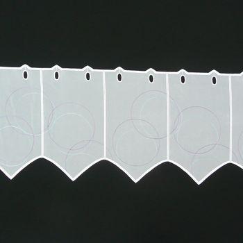 Scheibengardine Voile mit Kreise Lurex weiß lila mint Spitze 30cm Höhe – Bild 1