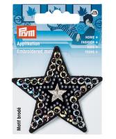 Prym Applikation Stern Pailletten schwarz silberfarbig 6,5x6,5cm 001