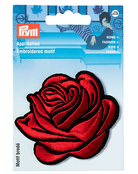 Prym Applikation Rose rot schwarz 7x6cm