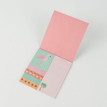 Notizblätter Notizblock Klebezettel Flamingo türkis rosa 12x13cm – Bild 1