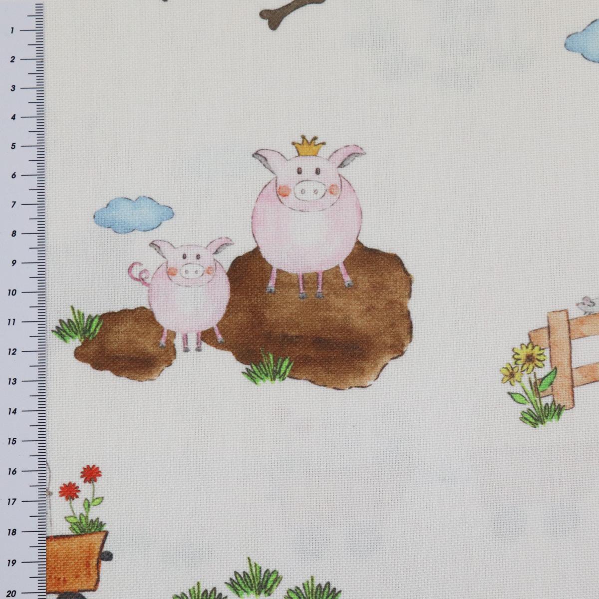 gardinenstoff stoff dekostoff hofgaudi bauernhof traktor tiere creme bunt stoffe wohnstoffe. Black Bedroom Furniture Sets. Home Design Ideas