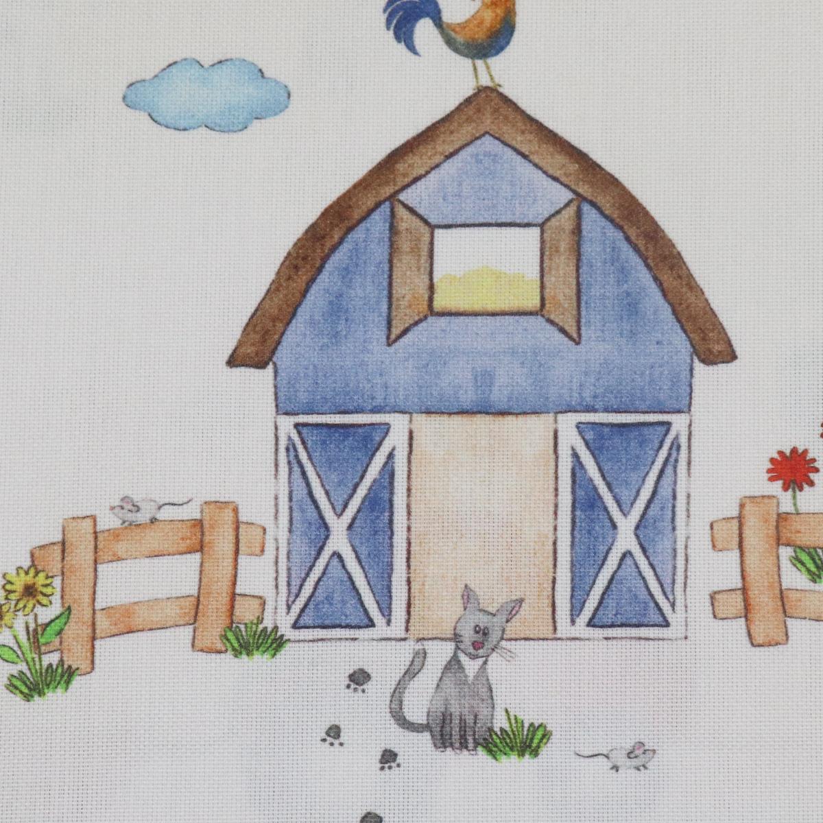 gardinenstoff stoff dekostoff hofgaudi bauernhof traktor tiere creme bunt alle stoffe stoffe. Black Bedroom Furniture Sets. Home Design Ideas