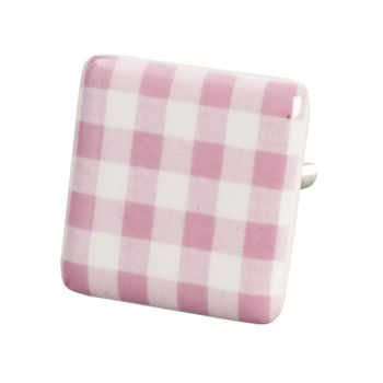 Clayre & Eef Kommodenknopf kariert rosa weiß 3,5x6,5cm