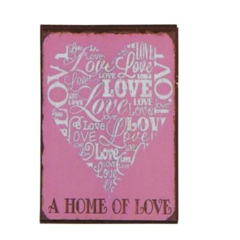 Clayre & Eef Magnet A HOME OF LOVE 5x7cm