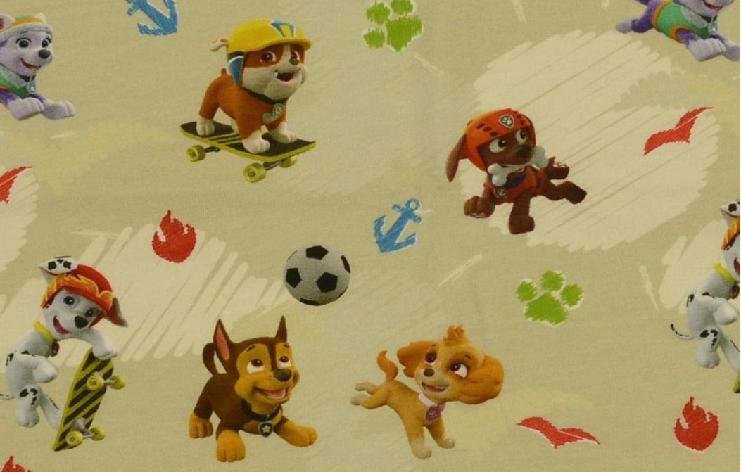 Jersey Jerseystoff Disney Paw Patrol Hunde gelb bunt Digitaldruck 1,5m Breite