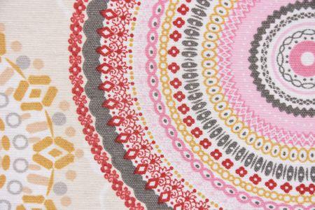 Dekostoff Mandala Retro Blumen Muster beige bunt – Bild 2