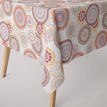 Dekostoff Mandala Retro Blumen Muster beige bunt – Bild 5
