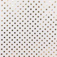 Dekostoff Kreise Punkte weiß goldfarbig metallic