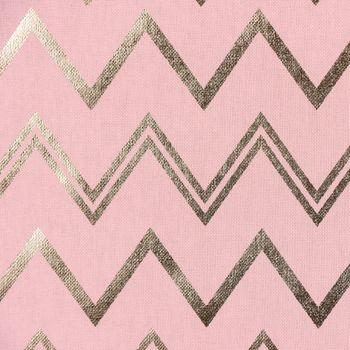 Dekostoff Chevron Zacken rosa goldfarbig metallic – Bild 1