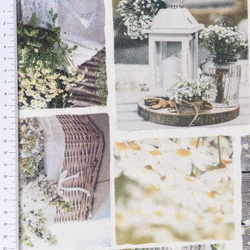 Baumwollstoff Digitaldruck Patchwork Blumen Gräser weiß grün braun – Bild 2