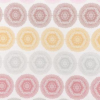 Dekostoff Mandala Ornament Kreise beige bunt pastell – Bild 1