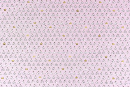 Dekostoff Schwan Krone rosa weiß goldfarbig – Bild 6