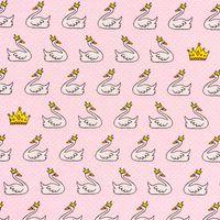 Dekostoff Schwan Krone rosa weiß goldfarbig
