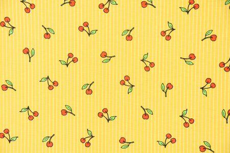 Dekostoff Kirschen rot grün Streifen gelb weiß – Bild 6