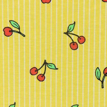 Dekostoff Kirschen rot grün Streifen gelb weiß – Bild 1