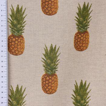 Dekostoff Leinenoptik Ananas beige orange grün – Bild 2