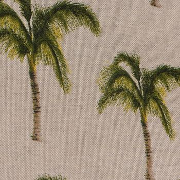 Dekostoff Leinenoptik Palme beige grün braun – Bild 3