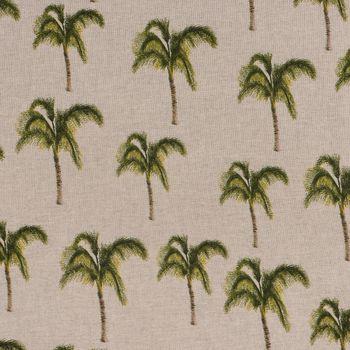 Dekostoff Leinenoptik Palme beige grün braun