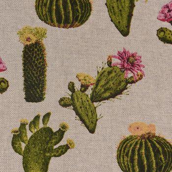 Dekostoff Leinenoptik Kaktus beige grün pink – Bild 3