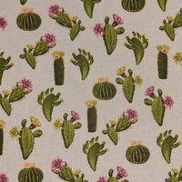 Dekostoff Leinenoptik Kaktus beige grün pink