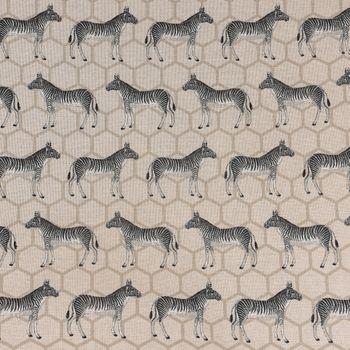 Dekostoff Leinenoptik Zebra beige schwarz grau