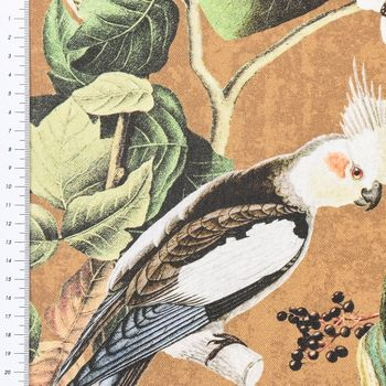 Baumwollstoff Stoff Dekostoff Digitaldruck Affe Vogel Blumen okker braun grün  – Bild 2