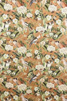 Baumwollstoff Stoff Dekostoff Digitaldruck Affe Vogel Blumen ocker braun grün  – Bild 3