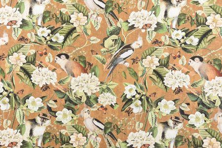 Baumwollstoff Stoff Dekostoff Digitaldruck Affe Vogel Blumen okker braun grün  – Bild 4