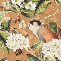 Baumwollstoff Stoff Dekostoff Digitaldruck Affe Vogel Blumen ocker braun grün