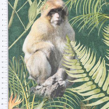 Baumwollstoff Stoff Dekostoff Digitaldruck Afrika Safari Tiere Palmen Blätter grün bunt – Bild 3