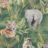 Baumwollstoff Stoff Dekostoff Digitaldruck Afrika Safari Tiere Palmen Blätter grün bunt 001