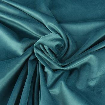 Samtstoff Dekostoff Italian Velvet Samt blau 1,45cm – Bild 1