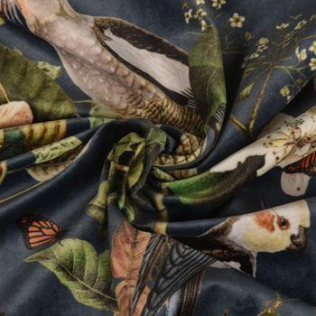Samtstoff Dekostoff Italian Velvet Samt Affe Vogel Blumen blau grün bunt 1,45cm – Bild 3