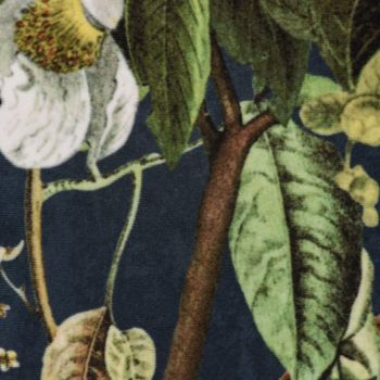 Samtstoff Dekostoff Italian Velvet Samt Affe Vogel Blumen blau grün bunt 1,45cm – Bild 6