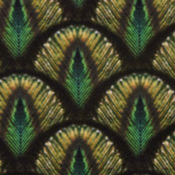 Samtstoff Dekostoff Italian Velvet Samt Pfau Federn grün goldfarbig 1,45cm – Bild 1