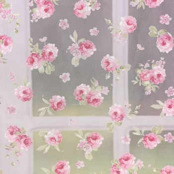 Gardinenstoff Dekostoff Organza Pfingstrosen klein weiß rosa grün 2,8m Höhe – Bild 1