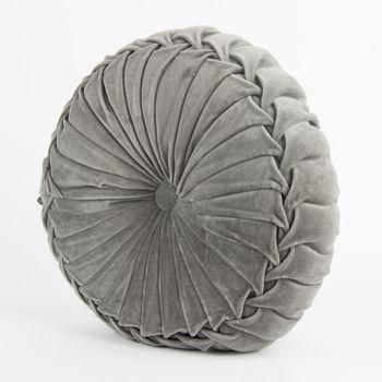 Kissen KANAN Samtkissen rund grau 40x12cm – Bild 1