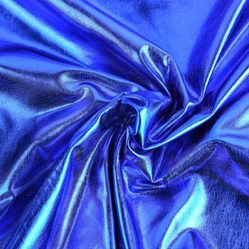 Metallic-Stoff Foliendruck mit Stretch blau 1,5m Breite – Bild 1