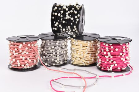 Wildlederimitatband mit Perle Perlenband creme Band Breite: 2mm Perle Breite: 6mm – Bild 2