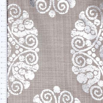 Dekostoff Leinenstruktur Adagio Ornament Metallicprint taupe silberfarbig – Bild 3