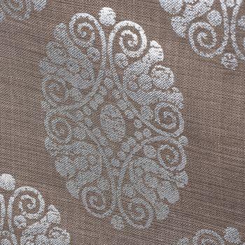 Dekostoff Leinenstruktur Adagio Ornament Metallicprint taupe silberfarbig – Bild 4
