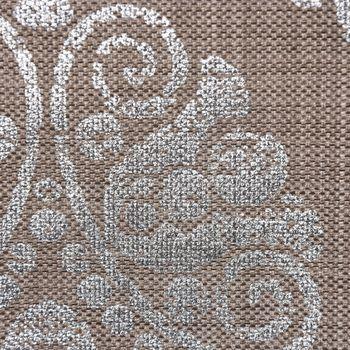 Dekostoff Leinenstruktur Adagio Ornament Metallicprint taupe silberfarbig – Bild 5