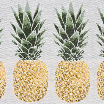 Dekostoff Jacquard-Stoff Ananas grau gelb grün – Bild 2
