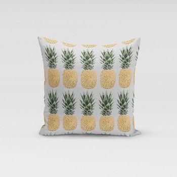 Dekostoff Jacquard-Stoff Ananas grau gelb grün – Bild 6