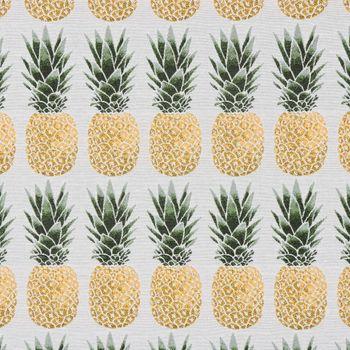 Dekostoff Jacquard-Stoff Ananas grau gelb grün – Bild 1