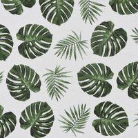 Dekostoff Jacquard-Stoff Palmenblätter grau grün