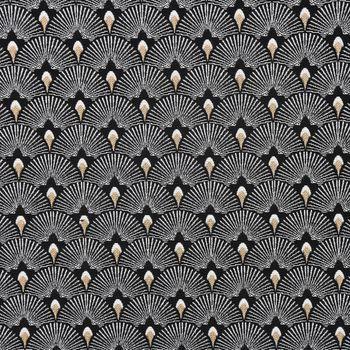 Dekostoff Jacquard-Stoff Pfau Retro schwarz weiß goldfarbig – Bild 1