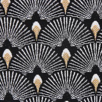 Dekostoff Jacquard-Stoff Pfau Retro schwarz weiß goldfarbig – Bild 3